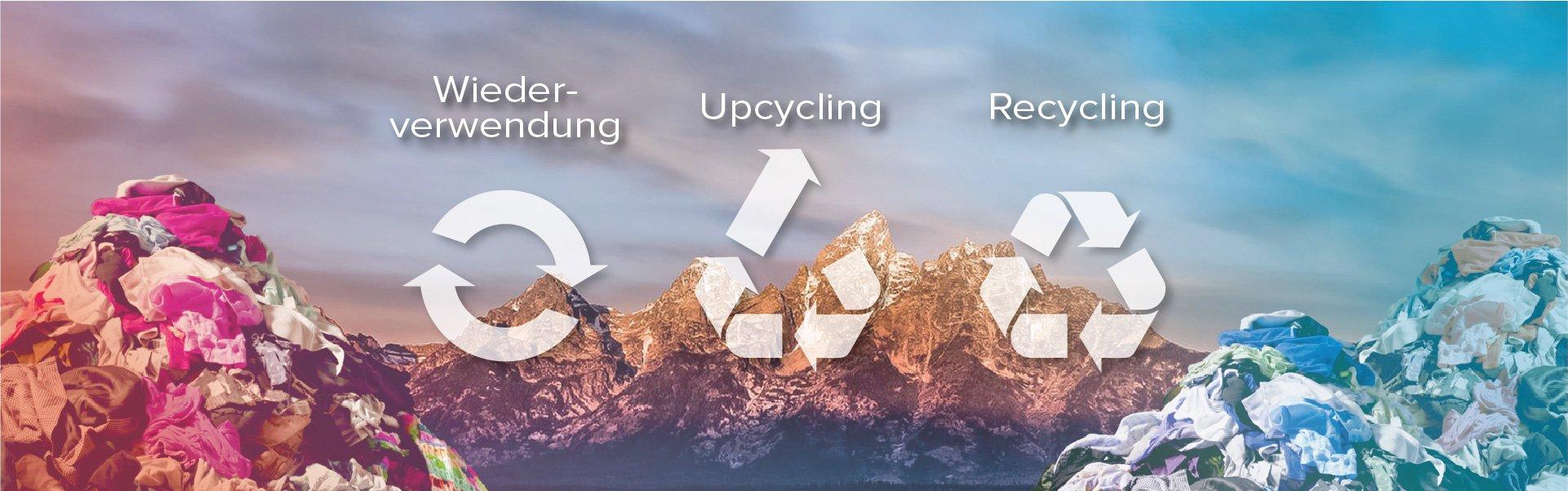 Wiederverwendung, Upcycling und Recycling von Berufsbekleidung-Recycling Upcycling Wiederverwendung lang