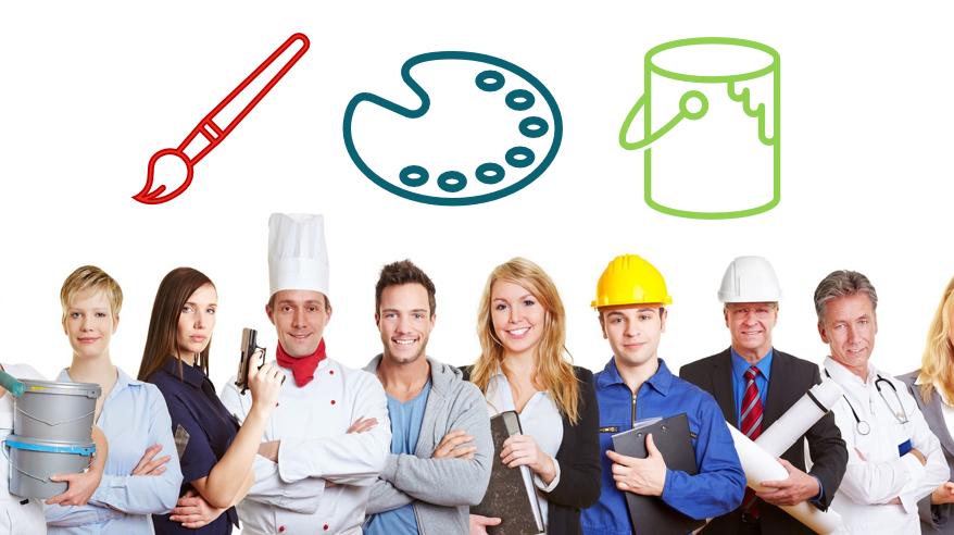 verschiedene Jobs - unterschiedliche Farben - Farbpalette Blue Collar Worker > White Collar Worker